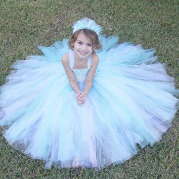 Inspired Princess Elsa Girl Tutu Dresses for Halloween Cosplay Baby Girls Clothing Halloween costume for Girls PT312