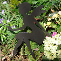 FAIRY SHADOW Garden Stake Yard Decor Lawn Ornament Metal Art Magical Mystical 7