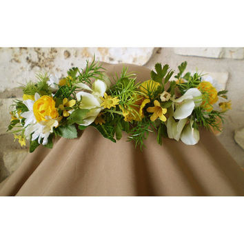 Daisy wedding floral faerie head wreath bridal crown