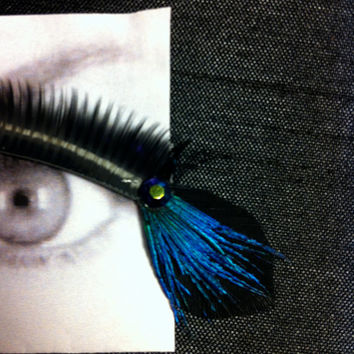 Black & Blue Peacock Feather False Eyelashes