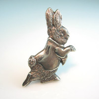 Sterling Silver Rabbit Brooch Peter Rabbit Beatrix Potter Character Signed H & H Bunny Jewelry