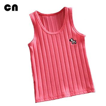 CN Summer children clothes zebra Embroidery Solid color Cotton Screw thread stripe 2-7 yeas girls camisoles Vests Boys Vests