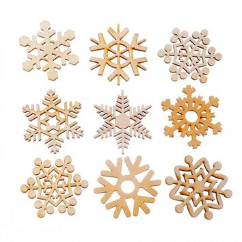 Arts,crafts & Sewing Home & Garden Objective 50pcs Christmas Holiday Wooden Collection Snowflakes Buttons Snowflakes Embellishments 18mm Creative Decoration