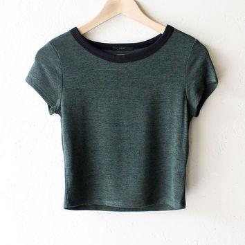 Cropped Ringer Tee - Olive