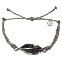Pura Vida - Silver Feather Bracelet | Gray