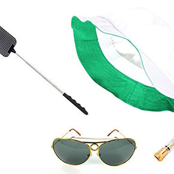 Fear & Loathing Las Vegas Hat Dark Green Sunglasses Cigarette Holder Flyswatter