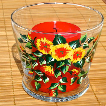 Glass Candle Holder With Flowers