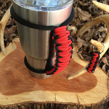 Paracord Yeti Rambler Handle Grip for 20 or 30 oz. Red / Black with free matching keychain
