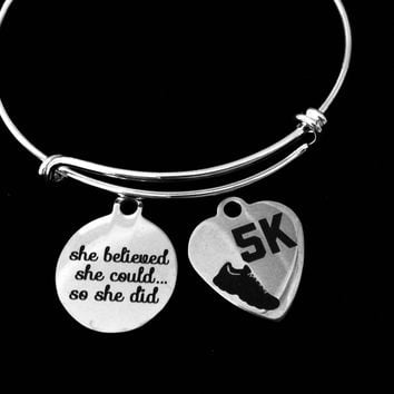 She Believed She Could so She Did 5K Expandable Charm Bracelet Adjustable Wire Bangle Gift