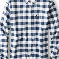 AEO Men's Buffalo Check Button Down Shirt (White)
