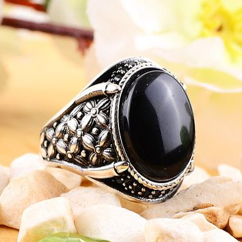 Onyx gemstone 925 sterling silver mens ring with claw and cz stones