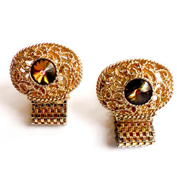 Swank Topaz Rivoli Cuff Links Vintage Gold Tone Filigree Mesh Wrap Signed Marked Groom Father Husband Gift Formal Mens Cufflinks