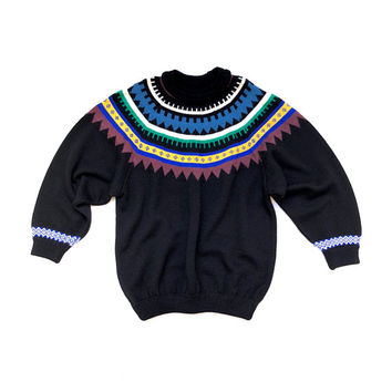 COOGI!!! intage 1980s unisex 'Coogi' black wool knitted sweater with raglan sleeves and colourful neck decoration