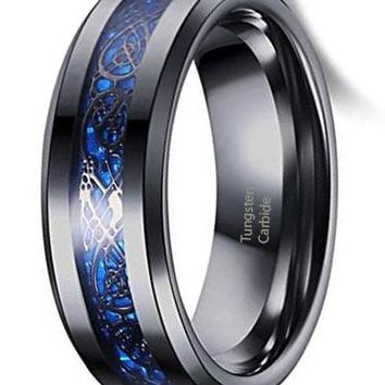 CERTIFIED 8mm Black Tungsten Carbide Ring Silvering Celtic Dragon Blue Carbon Fibre