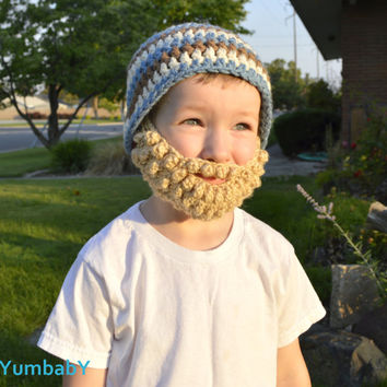 Beard Hat- Blue Brown Cream- All sizes- Bearded Beanie