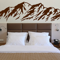 Vinyl Decal Nature Wall Sticker Majestic Mountains Snowy Peaks Ski Slopes (n348)