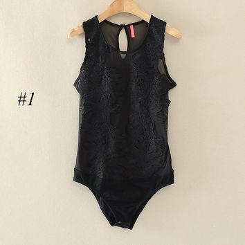 One Piece Bodysuit Jumpsuits High Cut Open Crop Top Suit