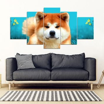 Akita Dog Print 5 Piece Framed Canvas- Free Shipping