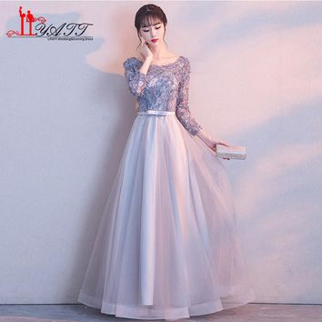 New Long Prom Dresses 2018 Robe de Soiree 3D Floral Lace Floor Length Tulle Formal Evening Party Gown Custom Made
