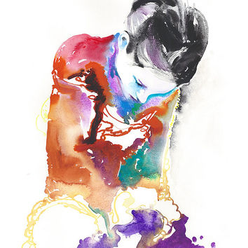 Print of Original Watercolor Fashion Illustration. Titled: Coutureink