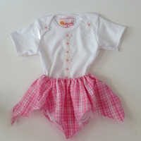 Baby Girl 6 to 9 Months Onsie With Matching Skirt Pink Removable Country Western