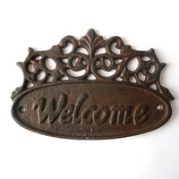 Vintage Rusty Iron Door / Wall Hang Sign - Welcome