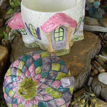 Fairy Garden House Kit  Enchanted Acorn  Ceramic    Gnome  Chalet Home