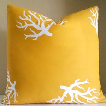 Yellow pillow cover coral nautical theme, All sizes available,  throw pillow cover, toss pillow cover, sofa pillow