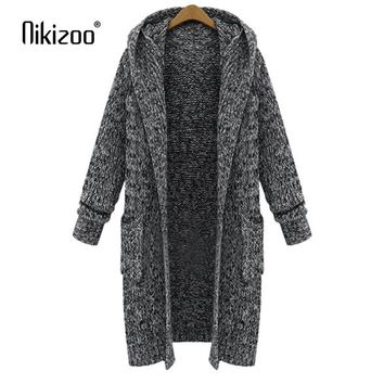 Nikizoo 2018 New Spring Autumn Casual Hooded Collar Knitted Sweater Women Cardigan Solid Winter Jacket Loose Long Sweaters Coat