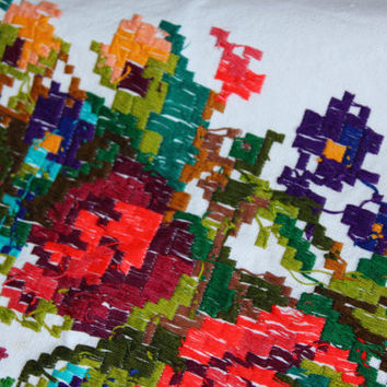 Vintage Large Floral Ethnic Folk Towel Handmade Embroidered Woven Wall Hanging Table Decor