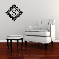 ironwork medallion monogram  wall quote wall decal wall sticker for monogram wall vinyl wall decal