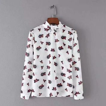 New bow tie with long sleeve pullover print shirt