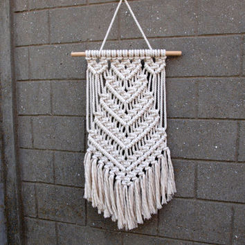 Nursery wall decor Baby shower gift Girls room decor Off-white boho wall hanging Macrame wall art Girls bedroom decor Macrame wall hanging