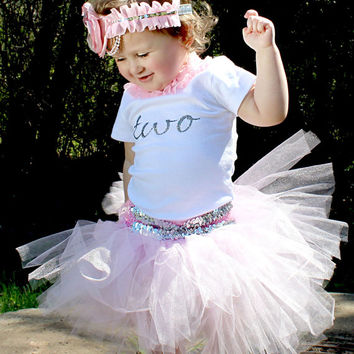 Beautiful Pink Silver Tutu Skirt, Satin Flower Headband and Personalized Birthday T-shirt for Baby Girl 2-3 years old Birthday Cake Smash