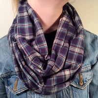 Handmade Infinity Scarf Plaid Flannel - Unisex, Men, Double  Layer Circle Scarf -  Dark Blue, Tan & Brown, Christmas Present, Holiday Gift