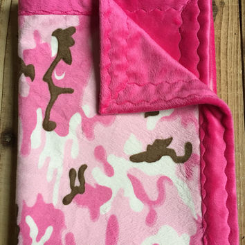 pink camouflage minky blanket