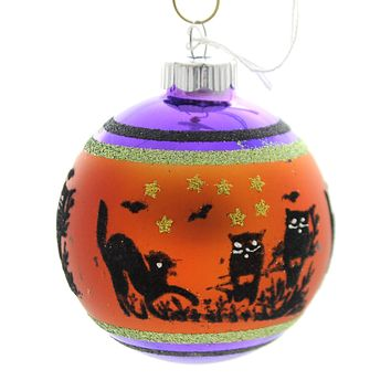 Shiny Brite HALLOWEEN SIGNATURE FLOCKED.. Glass Ornament Ball 4026976S B