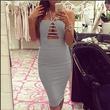 Grey Halter Neck Cutout Bodycon Midi Dress