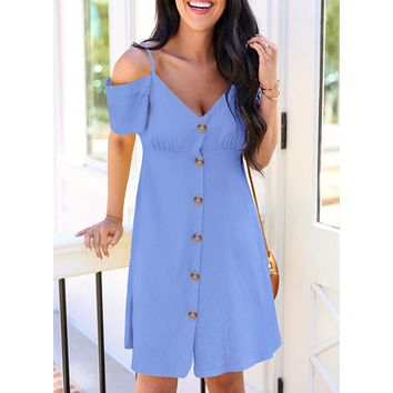 New fashion solid color short sleeve dress women Blue