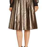 Marc Jacobs Pleated metallic leather skirt – 50% at THE OUTNET.COM