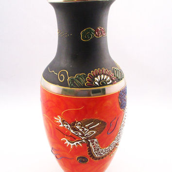 Dragon Lusterware Moraige Orange Vase Japanese Dragonware -FL