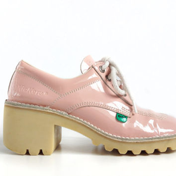 Pink Patent Chunky Lace up Vintage Platform Kickers Sneaker Pumps // 8
