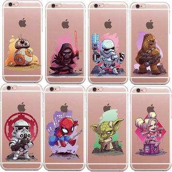 HOT Super Hero Deadpool/iron Man/ Marvel Avengers Star Wars Soft TPU Silicone Phone Cases For iPhone X 8 8Plus 7 7Plus 6 6S 5 5S