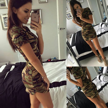 2016 New Fashion Women Summer Dress Short Sleeve Sexy Mini Dresses women Green Camouflage Print Plus Size Woman Vestidos