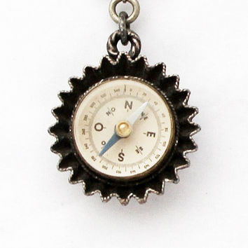 Vintage 1950s French Compass Keychain / Maritime Compass Fob