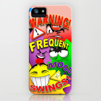 Warning Frequent Mood Swings Cartoon Faces iPhone & iPod Case by Bluedarkat Lem | Society6