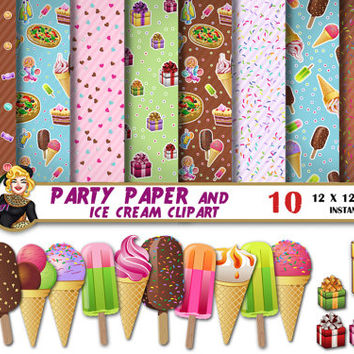 Ice Cream Clipart and Party digital paper, Present box clipart, Ice Cream paper, pizza, birthday, Scrapbooking Paper, patterns, backgrounds