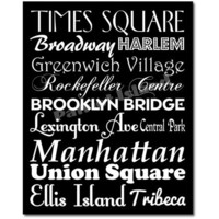 New York City Subway Sign Art  Destination Typography Print 12x16 Black and White