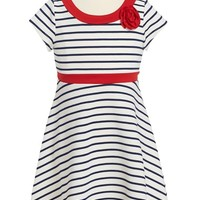 Girl's Little Angels by Us Angels Ottoman Stripe Fit & Flare Dress,