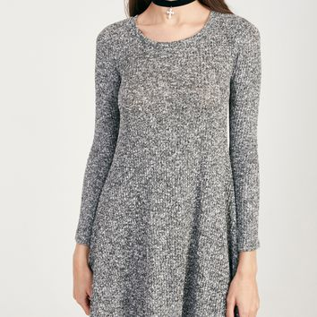 Marled Ribbed Knit Swing Dress | Wet Seal